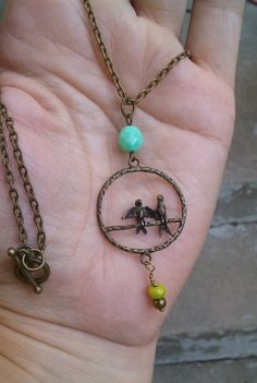 Long antique brass love birds necklace with aqua and lime beads by johnnynjenny on Etsy