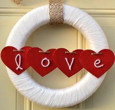 Yarn Wrapped Valentine Wreath