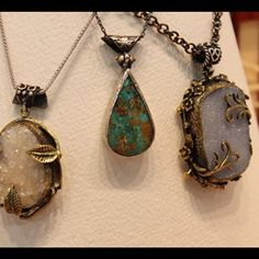 """Pendants made with drusy stones, from """"International Gem & Jewelry Show"""