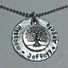 Hand Stamped Personalized Family Tree Necklace