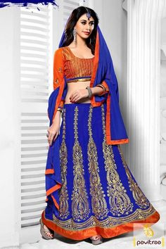 Endearing designs and style for wedding fashion blue orange chiffon designer lehenga choli online with discount sale. Buy sangeet, mahendi and marriage occasion chaniya choli in cheap rates. #lehengacholi, #lehengastylesaree, #chaniyacholi, #ghaghracholi, #weddingbridalcholi, #discountoffer, #festivalcholi, #pavitraafashion, #designerlehengacholi More Product: http://www.pavitraa.in/store/designer-collection/ Any Query: Call Us:+91-7698234040 E-mail: info@pavitraa.in