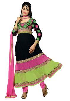 Black Color Pure #Georgette Designer Latest #Indian Anarkali Salwar #Suit