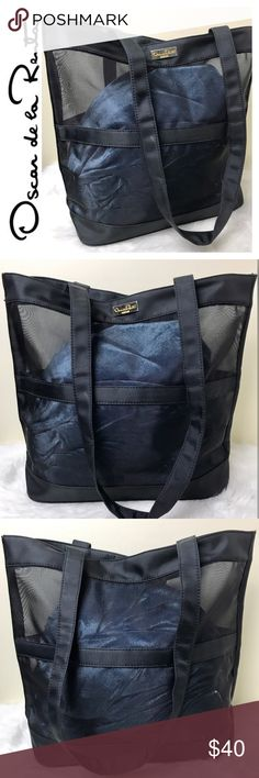 """Oscar de la Renta Designer Mesh Tote Bag Oscar de la Renta Designer Mesh Tote Bag in Black with Gold Hardware, Snap Top Closure, Measures Approx. 13""""x 12 1/2""""x 5"""" with a 14"""" Drop Handle, Used in Good Condition Oscar de la Renta Bags Totes"""