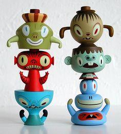 Tim Biskup Vinyl Stack Pack Unopened Capsule Set Of 6 Figures Vinyl Toys, Vinyl Art, Vinyl Figures, Action Figures, Cute Monsters, Designer Toys, Old Toys, Baby Toys, Character Design