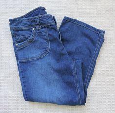 Liz & Co Women Blue Stretch Cropped Jeans Size 10 #LizCo #CapriCropped
