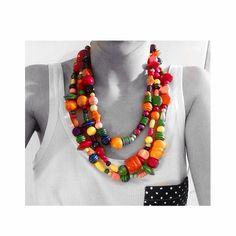 Wood necklace - Collana di legno multicolore handmade