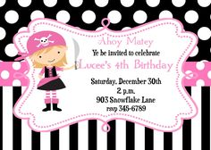 12 Pink Pirate Birthhday Party  invitations with envelopes by noteablechic on Etsy https://www.etsy.com/uk/listing/94003940/12-pink-pirate-birthhday-party