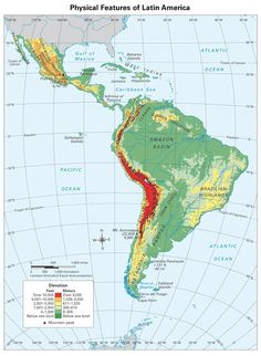 Latin America physical map Latin America Pinterest