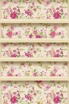 ? Floral iPhone/iPod wallpaper shelf design | http://phonewallpaperideaseugene.blogspot.com