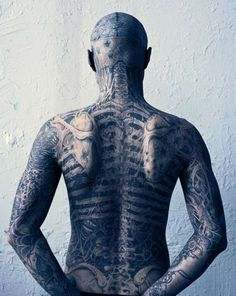 Rick Genest (a., Zombie Boy) back view of full body macabre anatomy tattoo. Rick Genest, Full Body Tattoo, Real Tattoo, Body Tattoos, Tattoo Art, Epic Tattoo, Anatomy Tattoo, Anatomy Art, Skeleton Tattoos
