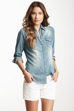 Love Stitch Long Sleeve Front Pocket Denim Shirt $25 - Hautelook.com