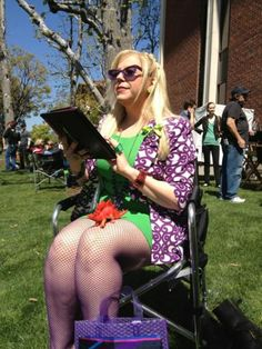 Garcia is hard-ly at work, as she is seen here taking a break between takes; from Profiling Kirsten Vangsness, Penelope Garcia, Fishnet Tights, Photo Colour, Color, Criminal Minds, Celebs, Celebrities, Favorite Tv Shows