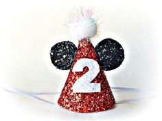 Minnie Mouse Birthday Hat Glitter Red Mickey Mouse Disney Party Hat Cake Smash by littleblueolive on Etsy https://www.etsy.com/listing/188130410/minnie-mouse-birthday-hat-glitter-red