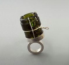 """A green gem for a greener planet: """"Bubbly Emerald"""" ring in silver and recycled champagne bottle by Rhode Island's Alice Jee Chung."""