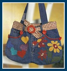 Textile fancy and not only: Bags of jeans Denim Bags From Jeans, Denim Tote Bags, Denim Purse, Blue Jean Purses, Diy Bags Purses, Handmade Purses, Craft Bags, Quilted Bag, Beautiful Bags