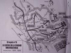 Mapa de la lucha en la Ciudad Universitaria en el año 1936