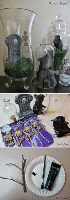 DIY Bell Jar Halloween Tablescape.