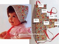 Little Girls Sun Bonnet. Sewing Patterns For Kids, Sewing For Kids, Baby Sewing, Baby Patterns, Baby Bonnet Pattern, Sewing Crafts, Sewing Projects, Baby Bonnets, Baby Crafts