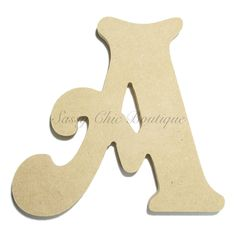 """Unfinished Wooden Letter - Uppercase """"""""A"""""""" - Victorian Font"""