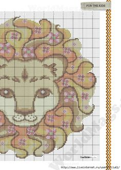 Cross-stitch King of the Jungle Pillow, part 2...  color chart on part 1