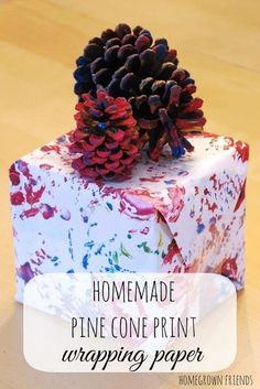 gorgeous homemade pine cone print wrapping paper from Homegrown Friends