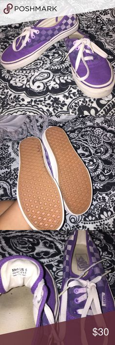 Purple ombré checkerboard vans Great used condition! Worn no more than 3x. Vans Shoes Athletic Shoes