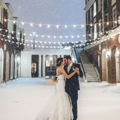 """Sometimes the snow can be deceptively brutal like this morning  but other times it's beautiful, peaceful, and picture perfect like in this Magnolia Hotel wedding photo by @meghanasmall """