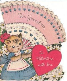 Vintage Valentine Card Dressed Cat and Fan Norcross Die Cut for Grandma #Norcross