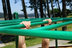 To strengthen your grip, do a hanging progression on the monkey bars