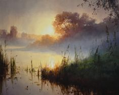 Roman Bozhkov's painting is imbued with a great love of nature, in addition to general conditions of nature, the author tries to notice. Watercolor Trees, Watercolor Landscape, Watercolor Paintings, Seascape Paintings, Landscape Paintings, Pictures To Paint, Landscape Photos, Belle Photo, Beautiful Landscapes