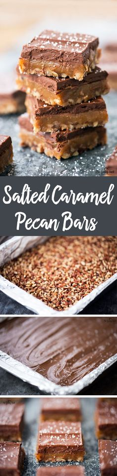 This Salted Caramel Pecan Bars recipe is a mouthwatering combination of salted caramel and chocolate with a crunch of chopped pecans.