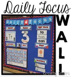 "Daily focus wall for kindergarten - makes so much more sense than ""I can...""!"