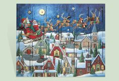 Add this beautiful Santa's Sleigh Wooden Advent Calendar Box to your holiday decor. Count down the 24 days before Christmas with this beautifully illustrated advent calendar. There's room behind each door for a special gift every day leading up to Christmas!