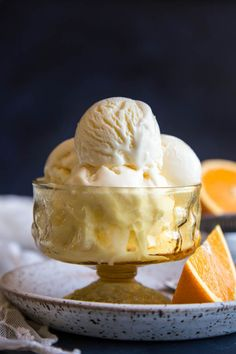 This delightful Orange Ice Cream gets its flavor from both the zest and juice of oranges, while mascarpone cheese gives it yet another layer of flavor that will surely blow your mind! Mascarpone Ice Cream, Mascarpone Cheese, Ice Cream Flavors, Ice Cream Recipes, Frozen Desserts, Parfait, Gourmet Recipes, Dessert Recipes, Desert Recipes