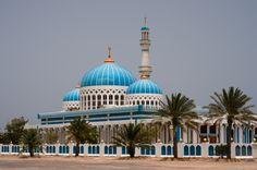 Bright blue mosque at Dalma Island