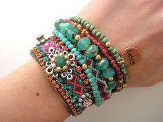 Bohemian hippie friendship bracelet suede cuff  by OOAKjewelz, $110.00