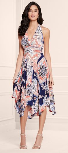 Coral Crush: Soma Halter Scarf Midi Dress in Capri Tile Print #LoveSoma