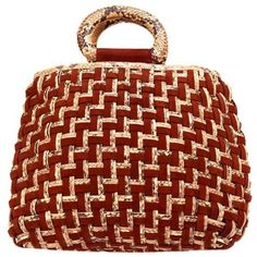 Preowned Nancy Gonzalez Merlot Suede And Snakeskin Leather Woven... (13.300 NOK) ❤ liked on Polyvore featuring bags, handbags, shoulder bags, brown, handbags shoulder bags, handbags purses, shoulder strap handbags, woven-leather handbags and red leather purse