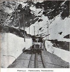Portillo, Ferrocarril Transandino. Góndola carril T-1024 (desde 1926). Publicado en Guía del Veraneante 1943. Ferrocarriles del Estado.