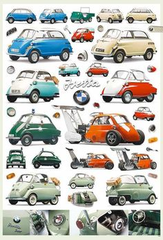 BMW Isetta Microcar 1955-1962 POSTER 23x34 Retro Vintage Antique 9 Models