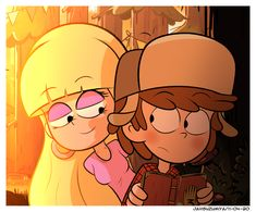 """""""Remembering my days in the Gravity Falls fandom this last week, i wanted to do a drawing of my favorite ship: Dipper and Pacifica, they're 15 years old in this picture. Gravity Falls Dipper, Gravity Falls Fan Art, Gravity Falls Comics, Dipper And Pacifica, Dipcifica, Animated Cartoon Characters, Cartoon Ships, Cartoon People, Tsundere"""