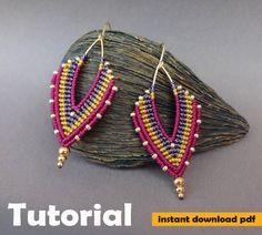 Macrame Earrings Tutorial, Micro Macrame Tutorial, Earring Tutorial, Diy Earrings, Polymer Clay Earrings, Fringe Earrings, Jewelry Knots, Bead Jewellery, Jewelery