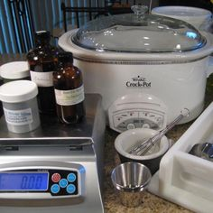 Equipment and ingredients for crock pot hot process soap