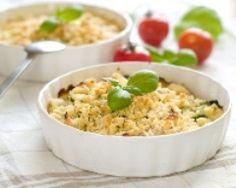 Crumble de légumes au mascarpone : noix, poireaux, champignons, carotte, patate douce, bouillon