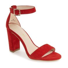 Women's Pelle Moda 'Bonnie' Ankle Strap Sandal ($160) ❤ liked on Polyvore featuring shoes, sandals, lipstick red suede, pelle moda, suede shoes, red ankle strap sandals, ankle strap sandals and wrap shoes
