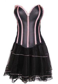 Corsé sexy negro satinado con ballenas y ribetes rosas y falda de tul