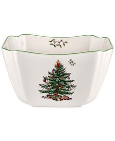 This Christmas Tree Small Square Bowl by Spode is perfect! Christmas Tree Collection, Christmas Tree Images, Christmas China, Spode Christmas Tree, Christmas Dishes, Christmas Ideas, Xmas, Christmas Dinnerware, Tree Designs
