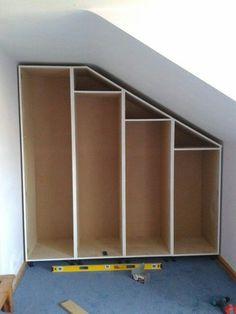 Built-in storage for attic bedroom - Kleiderschrank für dachschräge Eaves Storage, Loft Storage, Built In Storage, Bedroom Storage, Storage Stairs, Playroom Storage, Wardrobe Storage, Wall Storage, Diy Storage
