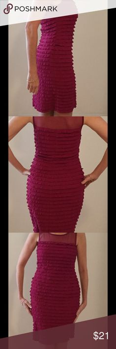 Ruffled fuchsia stretch dress sz 6 party time! Connected Apparel sexy dress for day or evening. Stretches to hug your curves! Low price to sell! Connected Apparel Dresses
