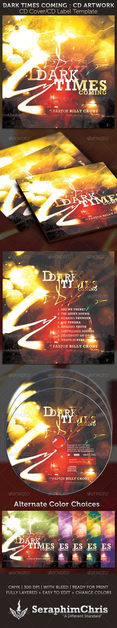 Dark Times Coming CD Cover Artwork Template — Photoshop PSD #end times #poetry cds • Available here → https://graphicriver.net/item/dark-times-coming-cd-cover-artwork-template/3826345?ref=pxcr